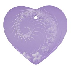 Light Violet Abstract Flowers Heart Ornament (Two Sides)