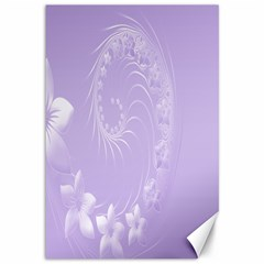 Light Violet Abstract Flowers Canvas 12  x 18  (Unframed)