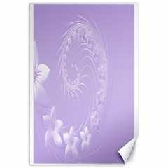 Light Violet Abstract Flowers Canvas 24  x 36  (Unframed)
