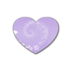 Light Violet Abstract Flowers Drink Coasters 4 Pack (heart)
