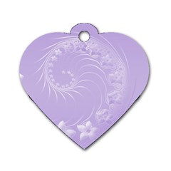 Light Violet Abstract Flowers Dog Tag Heart (two Sided)