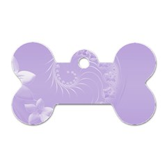 Light Violet Abstract Flowers Dog Tag Bone (one Sided)