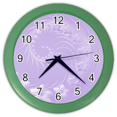 Light Violet Abstract Flowers Wall Clock (color)