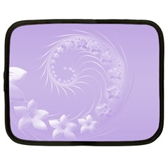 Light Violet Abstract Flowers Netbook Case (Large)