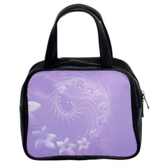 Light Violet Abstract Flowers Classic Handbag (Two Sides)