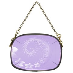 Light Violet Abstract Flowers Chain Purse (one Side)