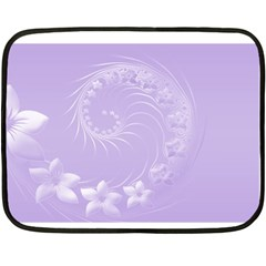 Light Violet Abstract Flowers Mini Fleece Blanket (Two-sided)