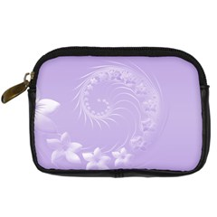 Light Violet Abstract Flowers Digital Camera Leather Case
