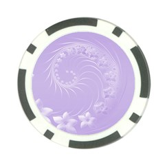 Light Violet Abstract Flowers Poker Chip 10 Pack