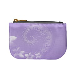 Light Violet Abstract Flowers Coin Change Purse