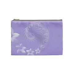 Light Violet Abstract Flowers Cosmetic Bag (medium)