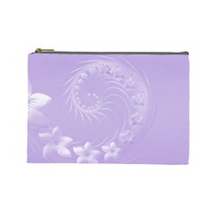 Light Violet Abstract Flowers Cosmetic Bag (Large)
