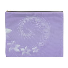 Light Violet Abstract Flowers Cosmetic Bag (XL)