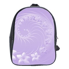 Light Violet Abstract Flowers School Bag (large)