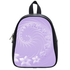 Light Violet Abstract Flowers School Bag (Small)