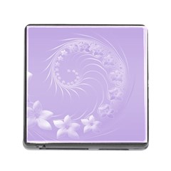 Light Violet Abstract Flowers Memory Card Reader with Storage (Square)