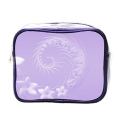 Light Violet Abstract Flowers Mini Travel Toiletry Bag (One Side)