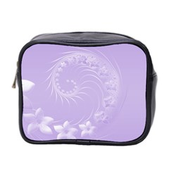 Light Violet Abstract Flowers Mini Travel Toiletry Bag (Two Sides)