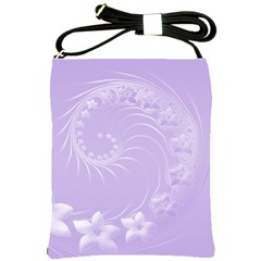 Light Violet Abstract Flowers Shoulder Sling Bag