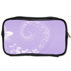 Light Violet Abstract Flowers Travel Toiletry Bag (Two Sides)