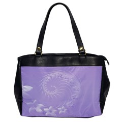 Light Violet Abstract Flowers Oversize Office Handbag (One Side)