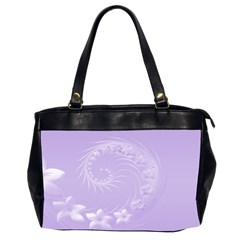 Light Violet Abstract Flowers Oversize Office Handbag (two Sides)