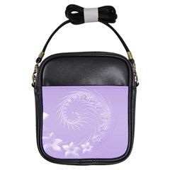 Light Violet Abstract Flowers Girl s Sling Bag