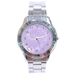 Light Violet Abstract Flowers Stainless Steel Watch (Men s)