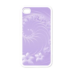 Light Violet Abstract Flowers Apple Iphone 4 Case (white)