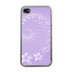 Light Violet Abstract Flowers Apple iPhone 4 Case (Clear)