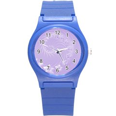Light Violet Abstract Flowers Plastic Sport Watch (Small)