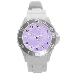 Light Violet Abstract Flowers Plastic Sport Watch (large)