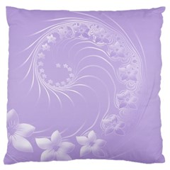 Light Violet Abstract Flowers Large Cushion Case (one Side)