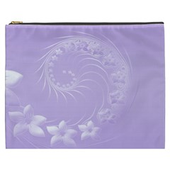Light Violet Abstract Flowers Cosmetic Bag (xxxl)