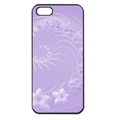 Light Violet Abstract Flowers Apple Iphone 5 Seamless Case (black)