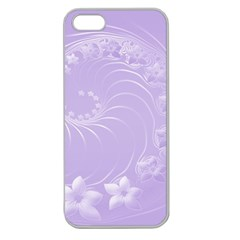 Light Violet Abstract Flowers Apple Seamless iPhone 5 Case (Clear)