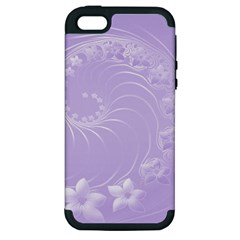 Light Violet Abstract Flowers Apple iPhone 5 Hardshell Case (PC+Silicone)