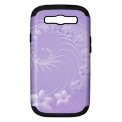 Light Violet Abstract Flowers Samsung Galaxy S Iii Hardshell Case (pc+silicone)