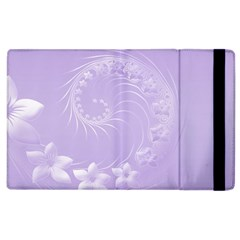 Light Violet Abstract Flowers Apple iPad 3/4 Flip Case