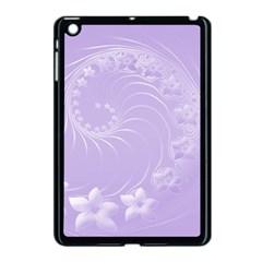 Light Violet Abstract Flowers Apple iPad Mini Case (Black)