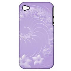Light Violet Abstract Flowers Apple iPhone 4/4S Hardshell Case (PC+Silicone)
