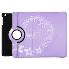 Light Violet Abstract Flowers Apple iPad Mini Flip 360 Case