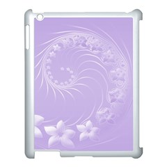 Light Violet Abstract Flowers Apple iPad 3/4 Case (White)