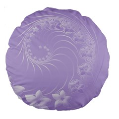 Light Violet Abstract Flowers 18  Premium Round Cushion