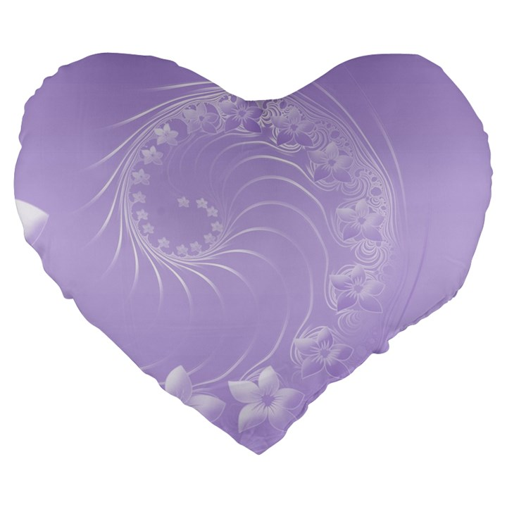 Light Violet Abstract Flowers 19  Premium Heart Shape Cushion