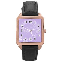 Light Violet Abstract Flowers Rose Gold Leather Watch