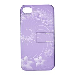 Light Violet Abstract Flowers Apple iPhone 4/4S Hardshell Case with Stand