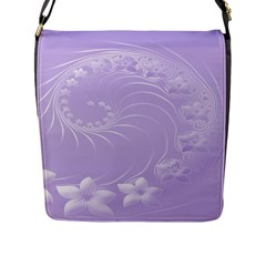Light Violet Abstract Flowers Flap Closure Messenger Bag (Large)