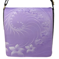 Light Violet Abstract Flowers Flap closure messenger bag (Small)