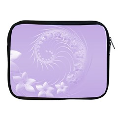 Light Violet Abstract Flowers Apple iPad 2/3/4 Zipper Case